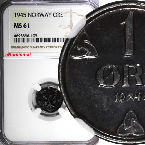 Norway WWII German Occupation Iron 1945 1 Ore NGC MS61 RARE DATE KM# 387 (103)