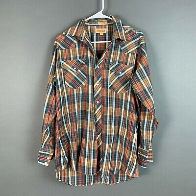 1970s Mens Shirt Styles – Vintage 70s Shirts for Guys Vintage 1970's Rancher Plaid Pearl Snap Western Button Up Shirt 16/33 Large $24.00 AT vintagedancer.com