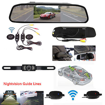 Wireless 5'' TFT-LCD Mirror Monitor+Nightvision Rear View Backup Camera System