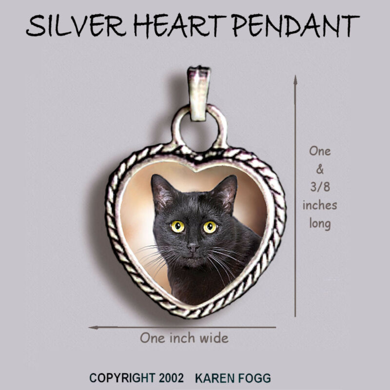 BLACK SHORTHAIR CAT - Ornate HEART PENDANT Tibetan Silver