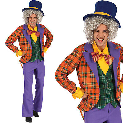 Mad Hatter Outfit (Mens Mad Hatter Fancy Dress Costume Alice in Wonderland Adult Halloween)