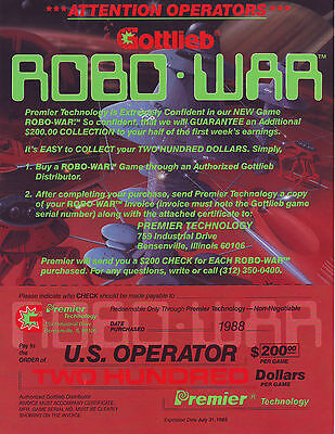 GOTTLIEB PREMIER ROBO WAR NOS PINBALL MACHINE REBATE FLYER BROCHURE 1988 ROBOWAR