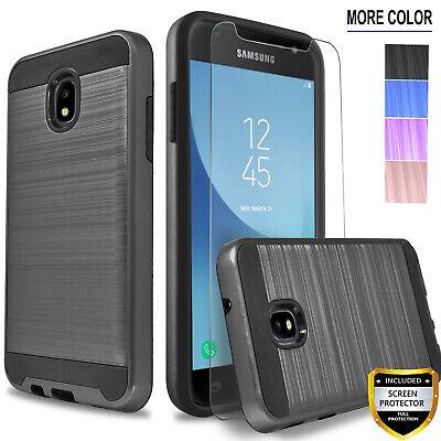 For Samsung Galaxy J7 Crown Star J7 V Refine Clip Case +Tempered Glass Protector