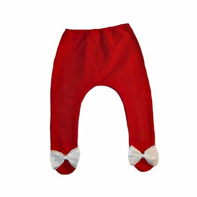 Baby Girls Red Tights Beautiful White Lace Bow - 6 Preemie - Toddler Sizes.