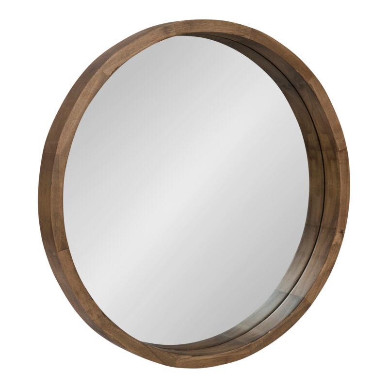"""Kate and Laurel Hutton Round Wood Wall Mirror - 22"""", Rustic Brown  MSRP $129.99"""