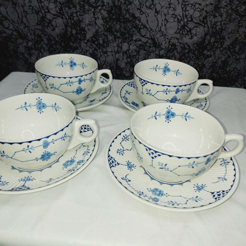 Franciscan Blue Floral ironstone  Denmark Cup & Saucer Set Of 4 Englend