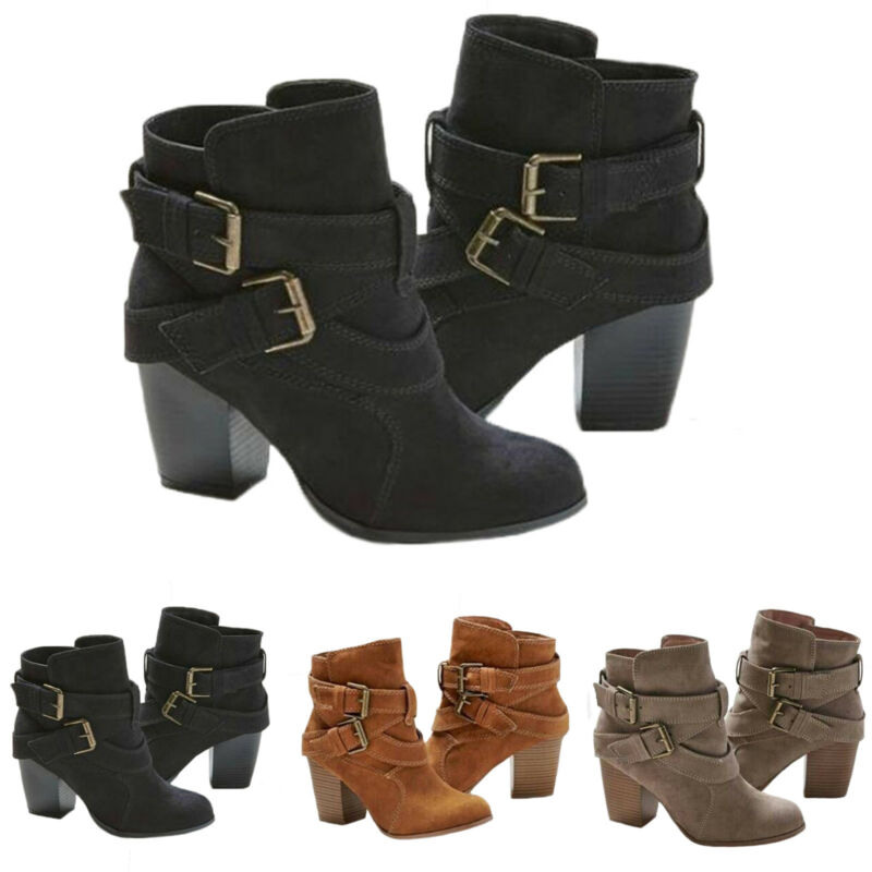 Women's Block High Heel Short Ankle Boots Casual Buckle
