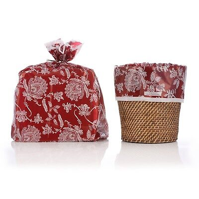 """Reusable Red Toile Plastic Gift Wrap Bags W/Silver Twist Ties - 10 Pk - 21""""x24"""""""