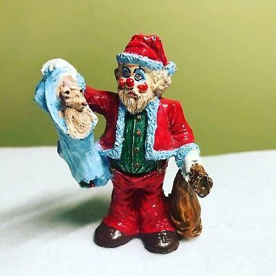 Pewter Santa Clown Figurine Die Cast Metal w Squirrel in Blanket & Toy Bag Rare