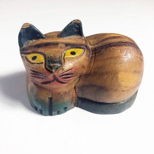 Vintage Cat Figure Carved Wood Kitten Mod Folk Art Sculpture Carving Decor