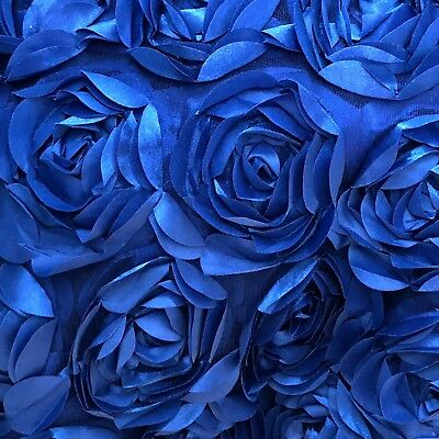 Royal Blue Tulle - Royal Blue 3D Floral Fabric, Peony Bouquet, Blue Rosette on Tulle by the Yard