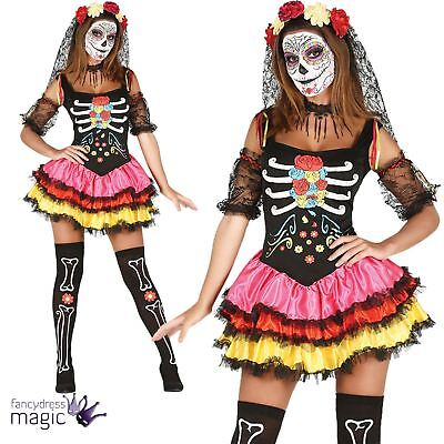 Ladies Halloween Day Of The Dead Tutu Catrina Fancy Dress Costume Outfit Bones