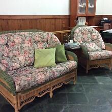 3 piece Cane and Fabric lounge in Excellent Condition Boambee East Coffs Harbour City Preview