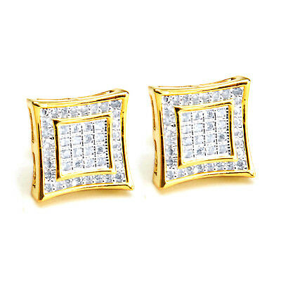Men's 14K Gold Plated Square Kite 2 Toned Screw Back Stud Earrings BE 002 TT