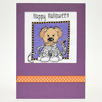 COMPLETED CROSS STITCH HALLOWEEN CARD
