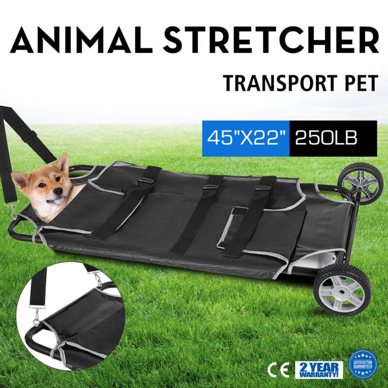 "Black Animal Stretcher 45""x27"" With 2 Wheels 250lbs Cap. Pet Rough Veterinary"