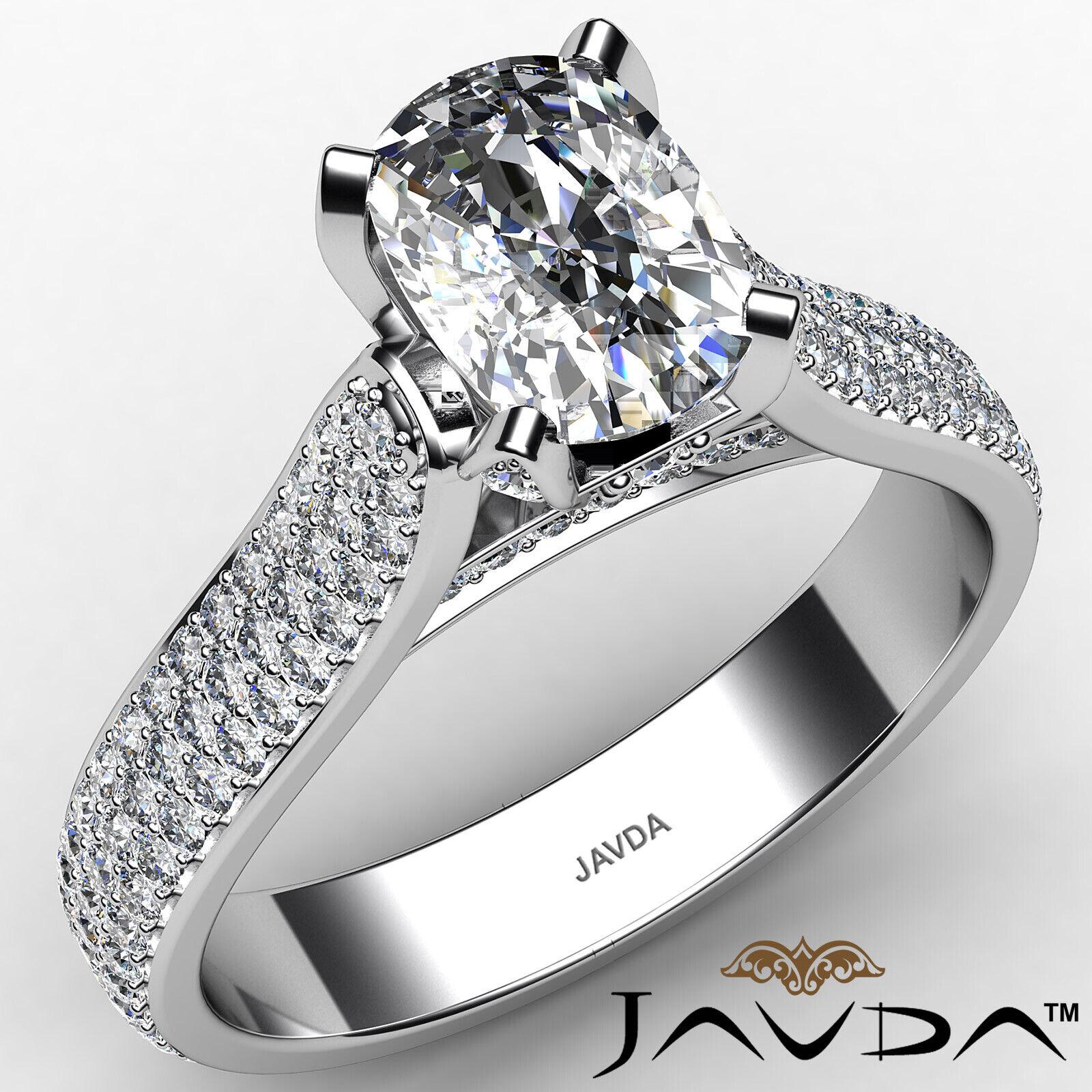 3 Row Shank Cushion Diamond Engagement Ring GIA E Color & SI1 clarity 2.35 ctw