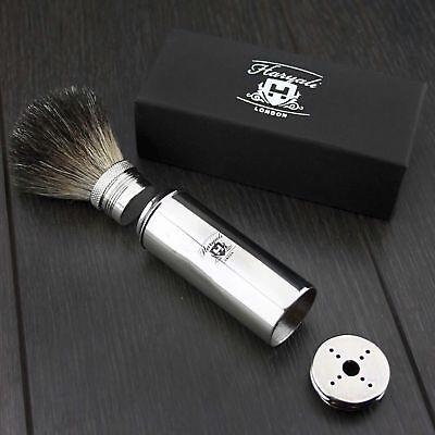 Men's Travel Shaving Brush Pure Badger Hair Black Bristle Stainless Steel -