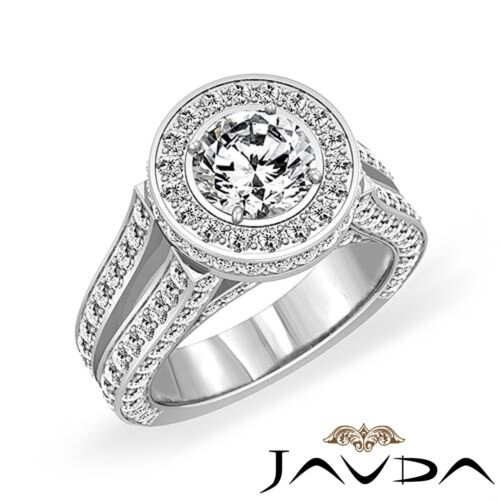 Natural Round Diamond Engagement GIA F SI1 Platinum 950 Split Shank Ring 3.46ct