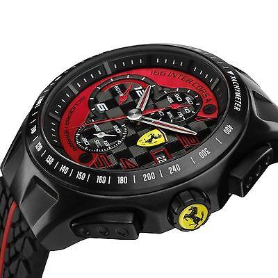 New Scuderia Ferrari Watch  Mens Chronograph Black Red Race Day 830077 44Mm