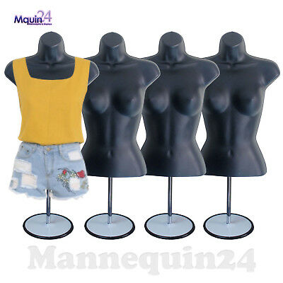 4 Pack Mannequin Torso Dress Forms Female Black Hollow Back Women Body Forms