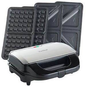 VonShef 2 in 1 Sandwich Maker Toaster & Waffle Iron - 800W