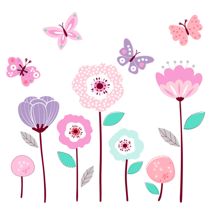 Bedtime Originals Magic Garden Pink/Lavender/Coral Butterfly Floral Wall Decals