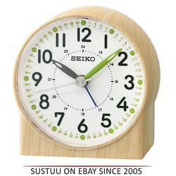 Seiko QHE168B Bedside Analoug Alarm Clock│Wood Pattern Case│Green Lumibrite Hand