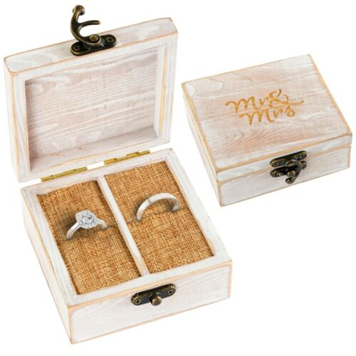 Wood Ring Bearer Box for Wedding Rings and Couple Jewelry - Engraved Mr. & Mrs.