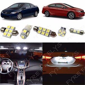 6x White Led Lights Interior Package Kit For 2006 2012 Honda Civic Hc1w Ebay