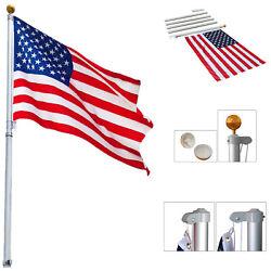 20 FT Sectional Flag Pole Kit Aluminum Flagpole with 1 US America Flag Gold Ball