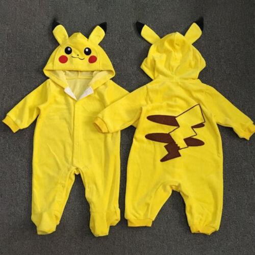 Newborn Baby Boys Girls Pokemon Pikachu Hooded Jumpsuit Romp