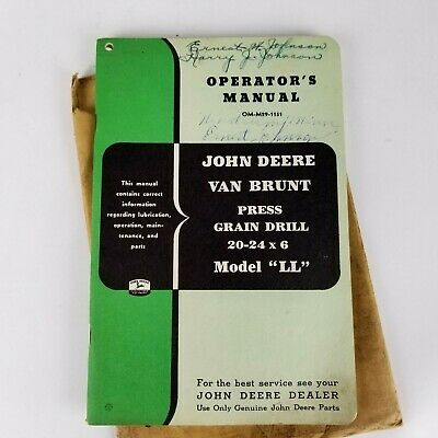 Vintage John Deere Operators Manual Model Ll Van Brunt Press Grain Drill Booklet