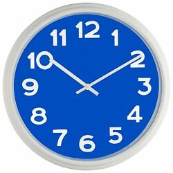 Bernhard Products - Large Wall Clock, 12.5 Silent Non-ticking Blue and White