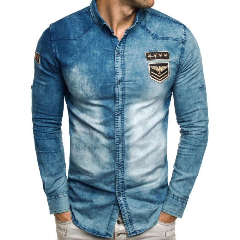 Jeanshemd Freizeithemd SlimFit Jeans Langarmhemd Casual Herren OZONEE MAD/992