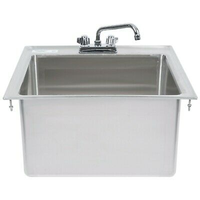 23x21x12 Stainless Steel One Compartment Drop-in Sink With 8 Faucet