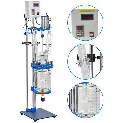 2l Jacketed Glass Reactor Reaction Vessel 100w Digital 0-1200rmin Chemical Lab