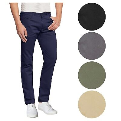 Mens Cotton Stretch Chino Pants 5-Pocket Washed Slim Fit Trouser Work School (Fit Washed Chino)