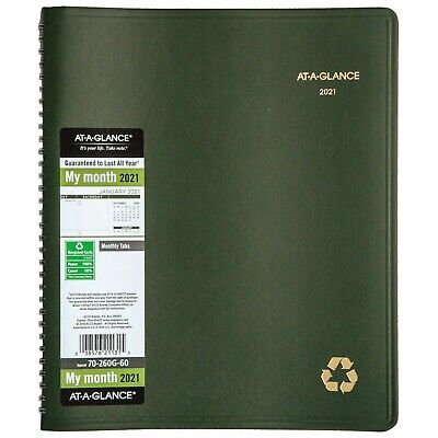2021 At-a-glance 70-260g-60 Recycled Monthly Planner 9 X 11 Green Cover New
