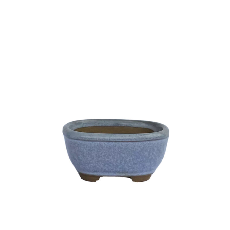 Vtg Shohin, Bonsai Succulent Pot Japanese Blue Glaze Drain Hole Small Planter