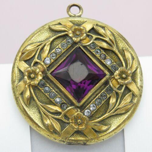 "Antique Victorian 1.5"" Gold GF Filled Paste Forget Me Not Flower Locket Pendant"