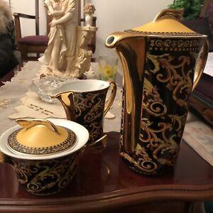 Versace Rosenthal Barocco design coffee pot creamer sugar bowl