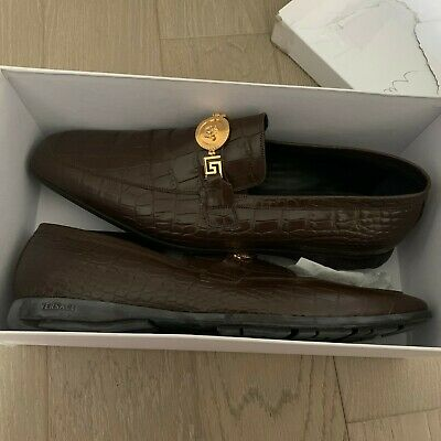 Versace mens embossed croc brown loafers medusa 46