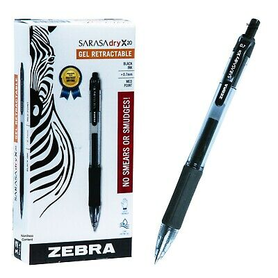 Zebra Sarasa Dry X20 0.7mm Black Gel Ink Rollerball Pen 46810 Box Of 12