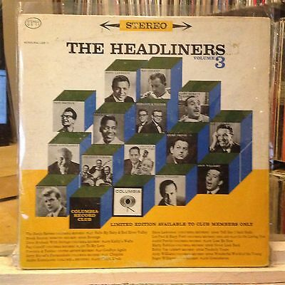 Rock Pop   Various Artists  Exc Lp The Headliners Volume 3  1962 Cbs Stereo Com