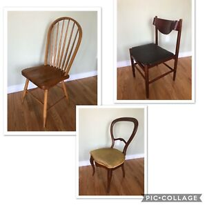 Vintage Antique Mid Century Chairs - Assorted Dining Side Chairs