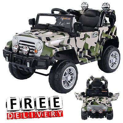 Battery Powered Jeep 12V Camo Toddler Ride On Toys Remote Electric Light