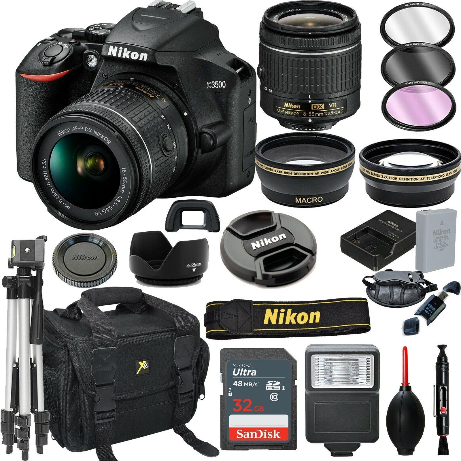 Nikon D3500 Digital SLR Camera Black + 18-55mm VR Lens + 32G