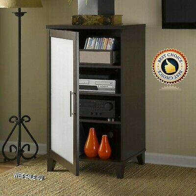Audio Video Stand Media Entertainment Center Rack Cabinet Glass Door 3 Shelves  ()