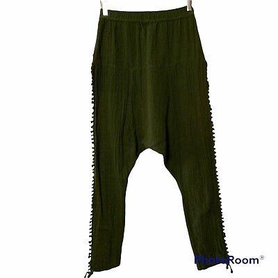 Caravana Tulum Ah Mun Harem Knot Pants Green Hand Woven Pockets Unisex
